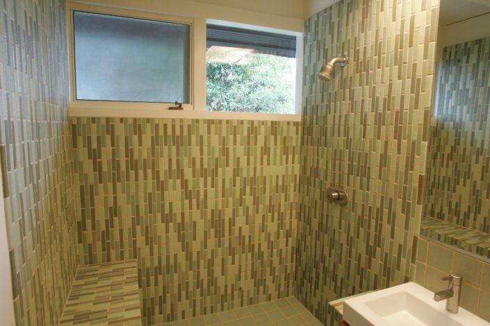 1x6 liners in Blue Sage, Spring Green & Pistachio bathroom tiles