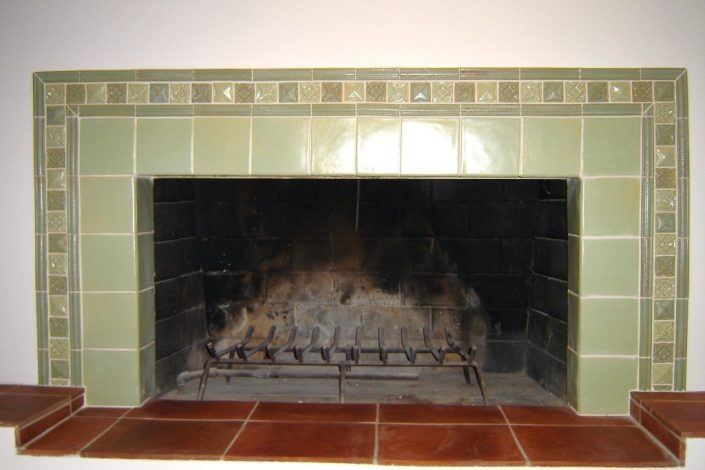 Fireplace in Spring Green and decorative tiles